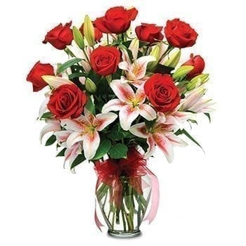 Get Your Red Roses And Lillies Flower Arrangement at Precious Petals Flower Shop in Dublin