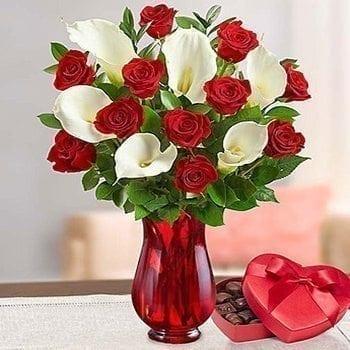 Red Roses & Calla Lilies by Precious Petals Florists