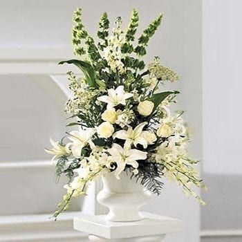 Pedestral Arrangements by Precious Petals Florists