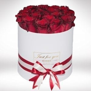 Get Your Red Roses In a White Small Box Arrangement at Precious Petals Flower Shop in Dublin